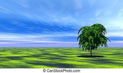arbre, herbe, vert