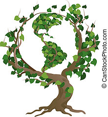 arbre, illustration, vecteur, mondiale, vert