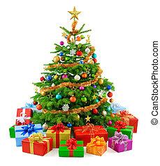 arbre, luxuriant, coloré, g, noël