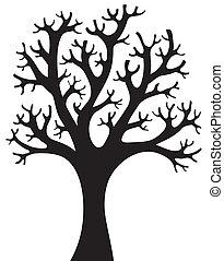 arbre, silhouette, 4, formé
