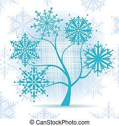 arbre, snowflakes., hiver, noël