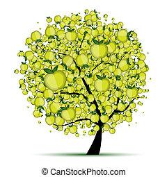 arbre, ton, pomme, conception, énergie