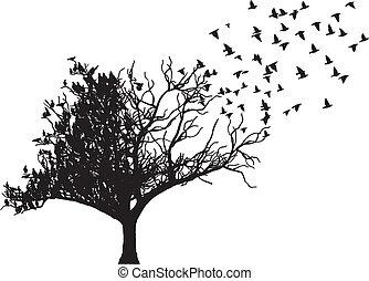 arbre, vecteur, art, oiseau