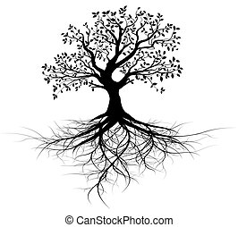 arbre, vecteur, entier, racines, noir