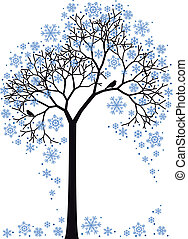arbre, vecteur, hiver