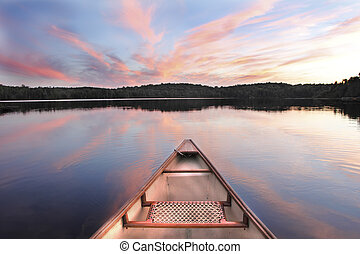 arc, coucher soleil, lac, canoë