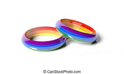 arc-en-ciel, anneaux, deux, rendre, couleurs, 3d