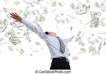 argent, étreinte, homme affaires