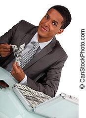 argent, entiers, serviette, homme affaires