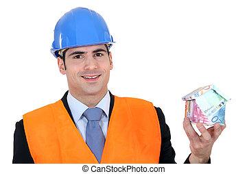 argent, fait, homme affaires, maison