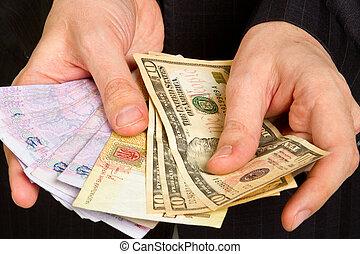 argent, homme affaires, tenant main