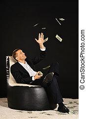 argent, lot, homme affaires