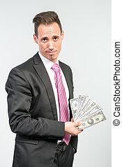 argent, lot, tenue, homme affaires