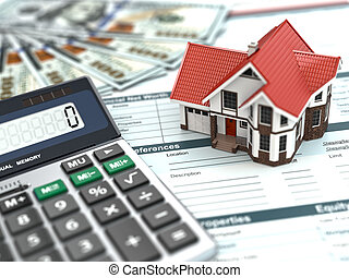 argent, maison, document., calculator., hypothèque