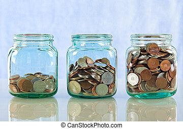 argent, pots, vieux, économie