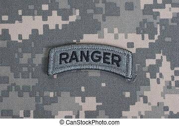 armée, nous, uniforme, garde forestier, camouflage, onglet
