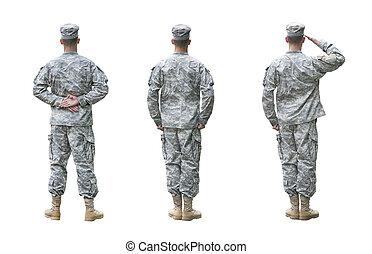 armée, positions, isolé, nous, trois, soldat, fond, blanc