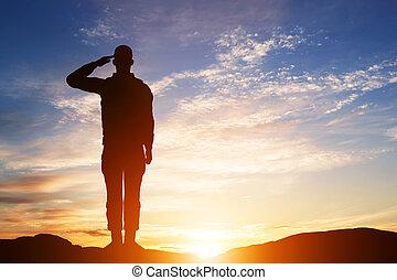 armée, salute., silhouette, sky., soldat, coucher soleil, military.