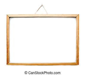 armature bois, whiteboard, isolé, pendre, blanc