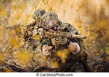 armes, soldats, viser, cible, équipe