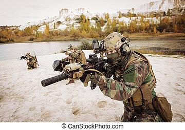 armes, solders, viser, cible