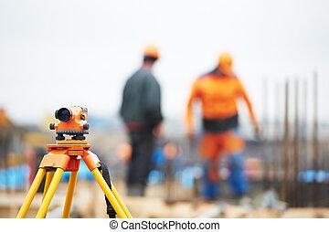 arpenteur, équipement, site construction, niveau
