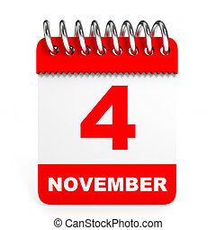 arrière-plan., calendrier, blanc, 4, november.