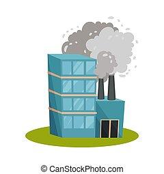 arrière-plan., chimney., usine, illustration, vecteur, blanc, bleu