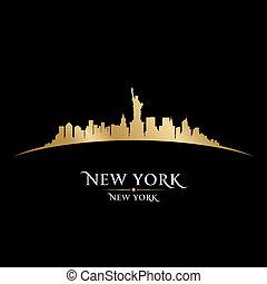 arrière-plan noir, horizon, ville, york, nouveau, silhouette
