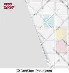 arrière-plan., résumé, vecteur, carrés, blanc