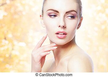 arrière-plan., sur, portrait, jaune, naturel, sain, jeune, automne, femme