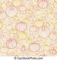 art, modèle, thanksgiving, seamless, fond, pumkins, ligne