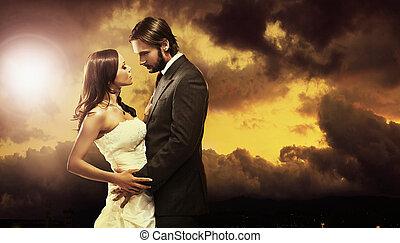 art, photo, couple, séduisant, mariage, amende