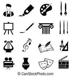 arts, ensemble, icône
