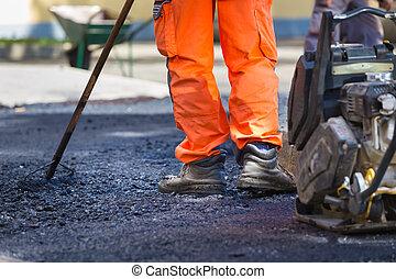 asphalte, manuel, affleurement, labor.