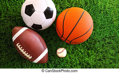 assortiment, herbe, sport, balles
