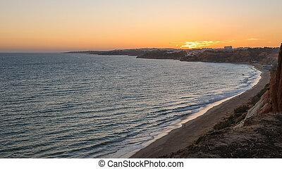 atlantique, littoral, portugal, crépuscule