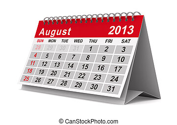august., image, isolé, calendar., année, 2013, 3d