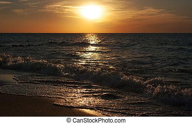 automne, coucher soleil, mer