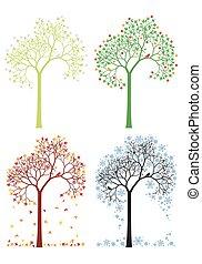 automne, hiver, arbre, printemps, été