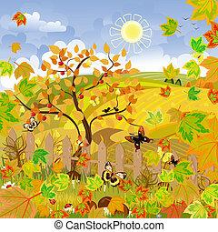 automne, paysage rural