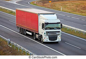 autoroute, camion, camionnage