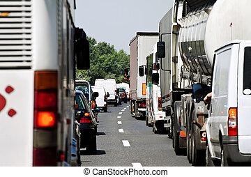 autoroute, confiture, trafic