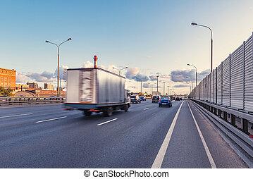 autoroute, time., voitures, coucher soleil, mouvement