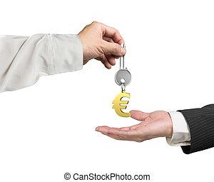 autre, donner, porte-clés, main, euro, clã©, une, signe