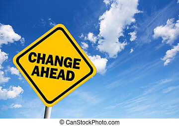 avertissement, changement, devant, signe