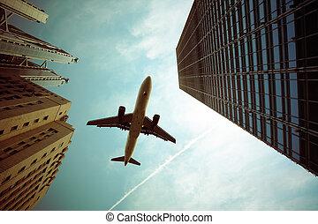 avion, bâtiment moderne