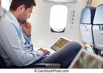 avion., ordinateur portable, fonctionnement, homme affaires