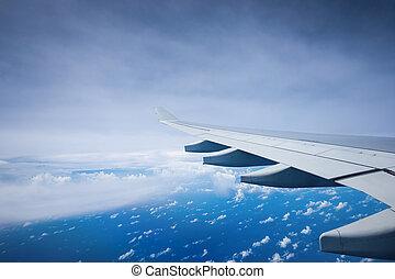 avion, sur, clouds., voler, aile