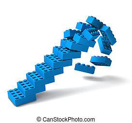bâtiment, écroulant, escalier, bloc, 3d